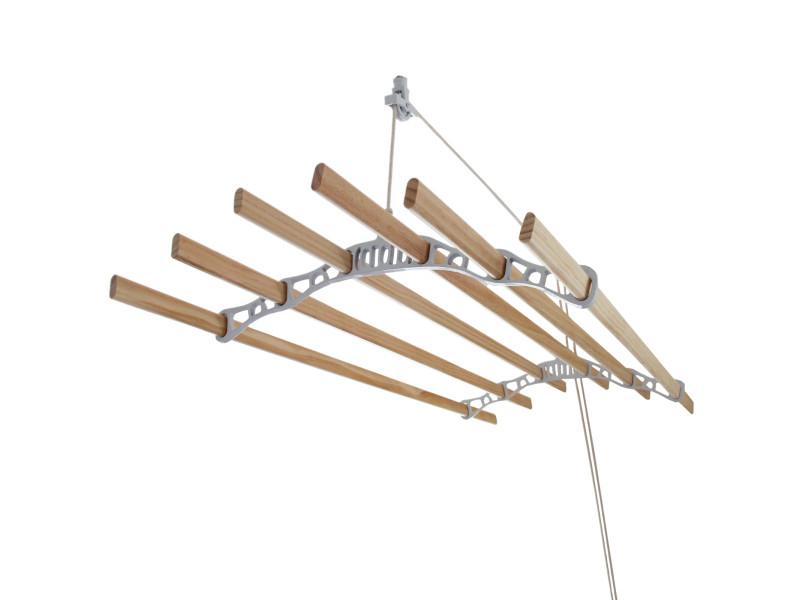 Etendoir à linge suspendu de 1,4 mètre - poulie blanc