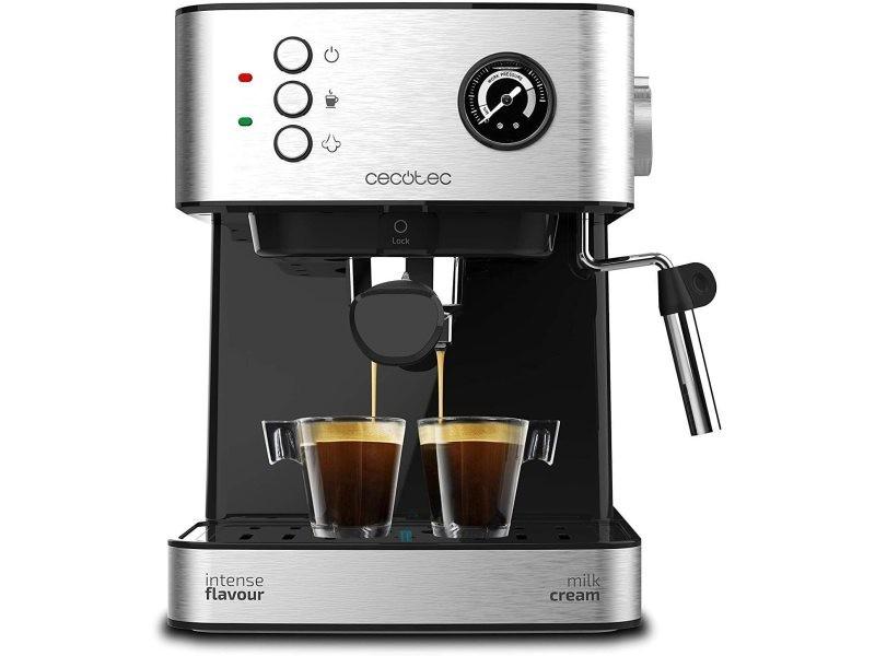 Machine à café express de 1,6l pour café expresso et cappuccino 850w gris noir