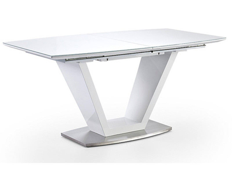 Table A Manger Extensible Laque Blanc Brillant L 160 220 X H 76 X P 90 Cm Pegane Vente De Table Conforama