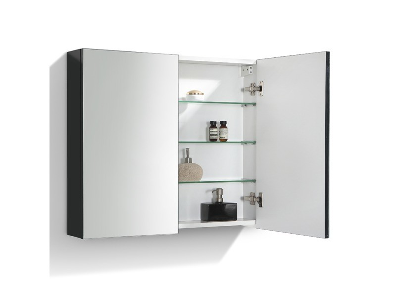 armoire de toilette bloc miroir siena largeur 80 cm noir laqu vente de salle de bain pr tes. Black Bedroom Furniture Sets. Home Design Ideas