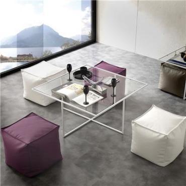 Table Basse En Verre Avec Poufs Design Matheo Vente De Table Basse