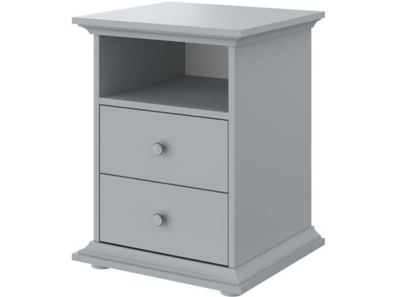 Manon chevet 2 tiroirs gris - l 45 x p 41 x h 58 cm 3840CH2T