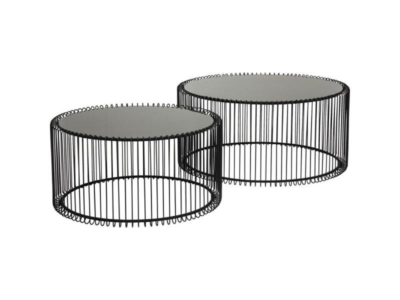 Set de 2 tables basses noires wire