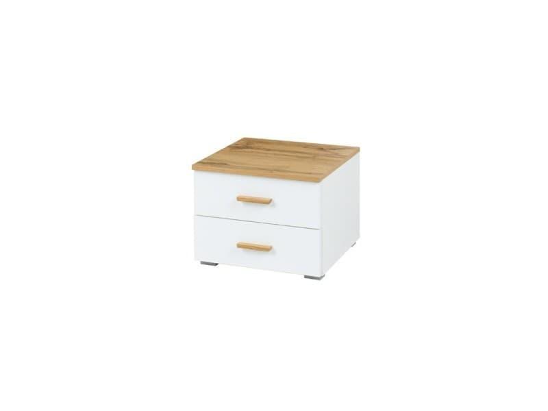 Lot de deux tables de chevet design pour votre chambre à coucher, collection wood. Coloris dab wotan et blanc alpin