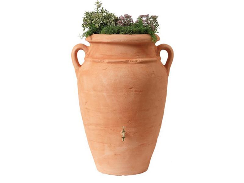 Kit amphore 360l coloris terracotta avec bac à plantes intégré, h 120 x d 78 cm -pegane-