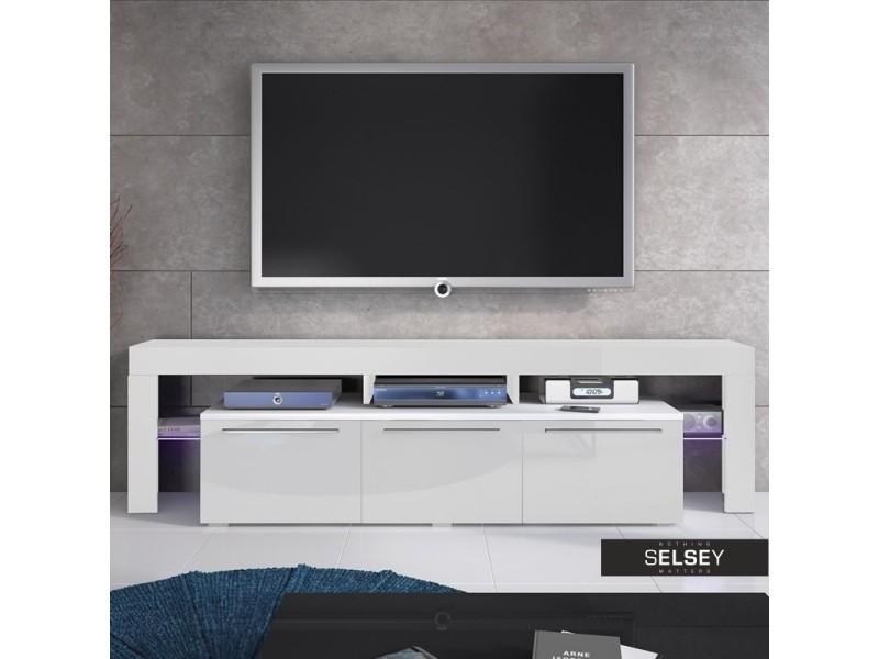 Meuble tv / meuble de salon - amieva - 200 cm - blanc mat / blanc brillant - avec led - style moderne
