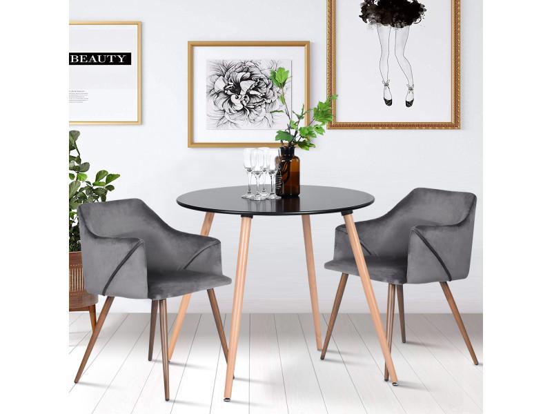 Ensemble table à manger ronde et lot de 2 chaises scandinave gris noir bois