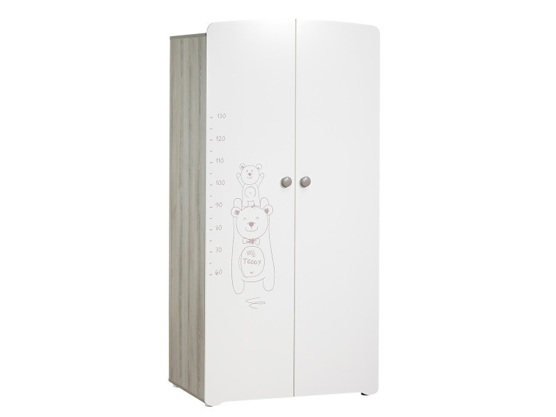 Armoire 2 Portes Chambre Bebe Blanche Serigraphie Taupe Teddy