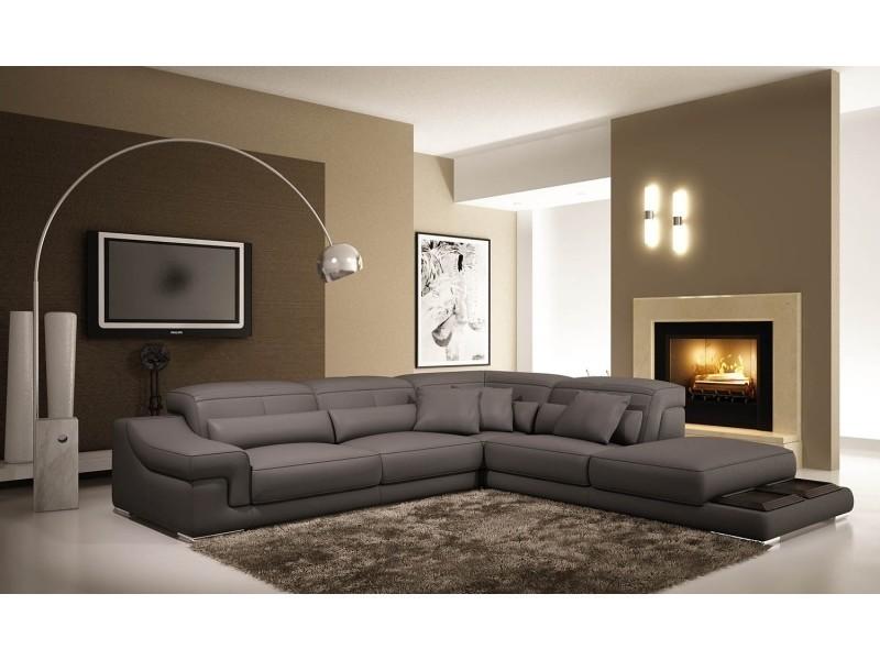 Canapé d'angle en cuir gris grissom-