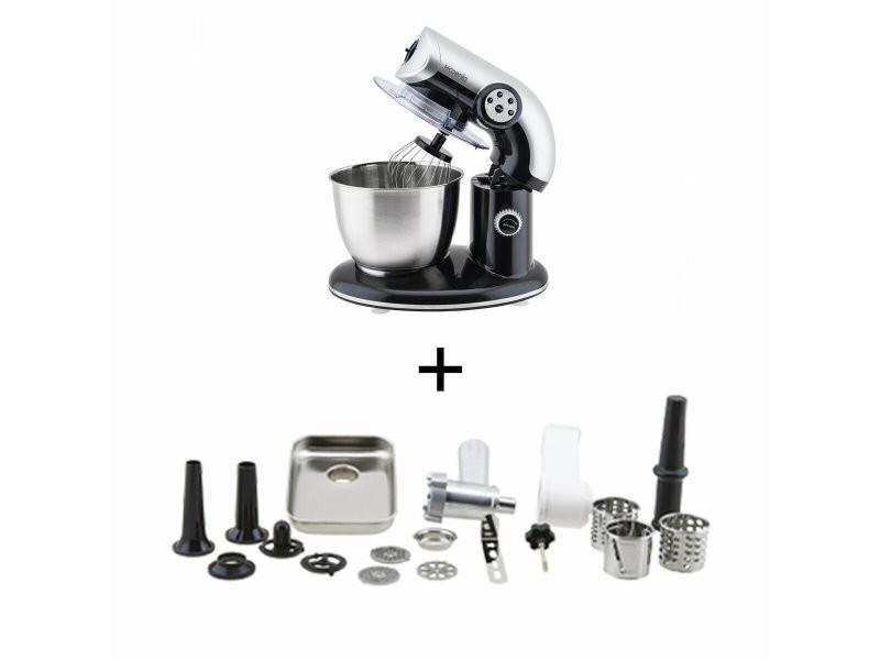 H.koenig km80 s noir + ac8 : robot petrin 1000w+ accessoires optionnels