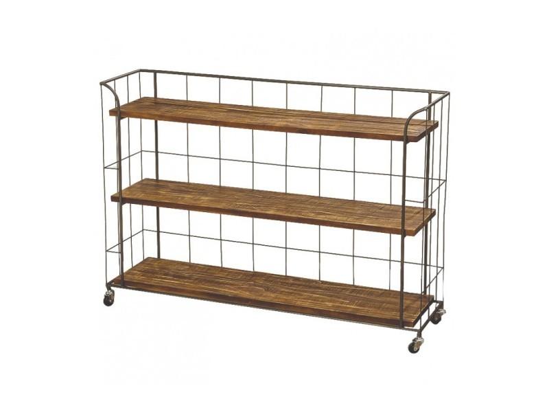 Étagère sur roulettes en bois et métal gris style industriel - longueur 115cm