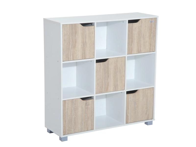 Meuble De Rangement Bois Et Blanc.Bibliotheque Meuble De Rangement Bicolore 4 Casiers Ouverts