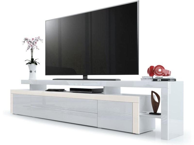Meuble tv crème / blanc laqué 227 cm