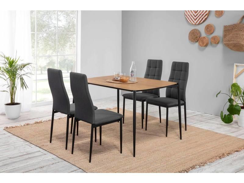 Bobochic table 120 cm nori couleur bois clair et pieds métal