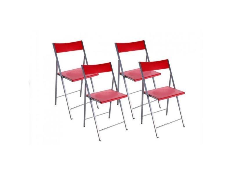 belfort lot de 4 chaises pliantes rouge 20100835527 vente de chaise conforama. Black Bedroom Furniture Sets. Home Design Ideas