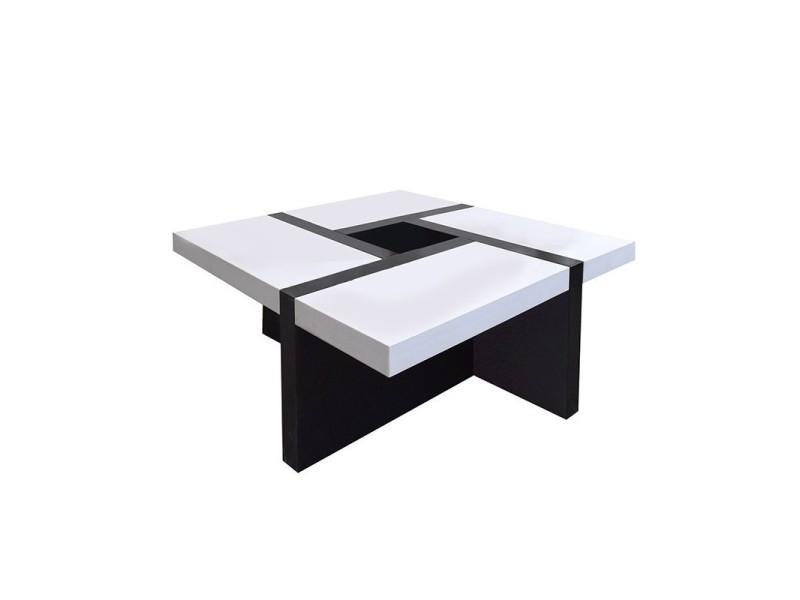 Mobili Rebecca Table Basse Carre Bois Noir Blanc Design Contemporain 35x80x80