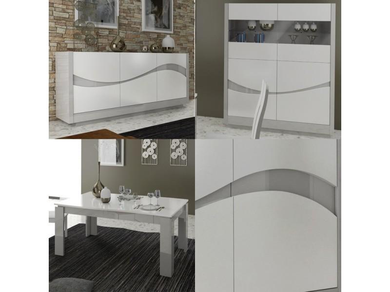 Salle à manger complète laqué blanc/gris - ralf - l 180 / 257 x l ...