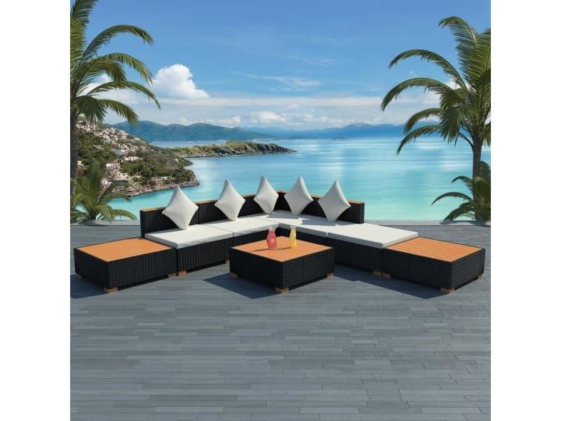 Chic meubles de jardin famille dakar mobilier de jardin 18 pcs résine tressée dessus en wpc noir