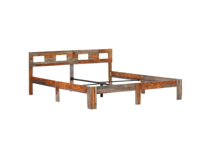 Vidaxl cadre de lit bois massif 160x200 cm cadre 2 personnes