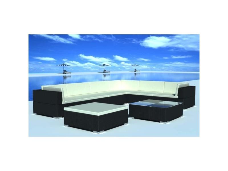 Superbe meubles de jardin famille apia jeu de meuble de jardin 24 pcs noir résine tressée
