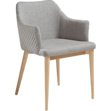 Chaise Gris Design Scandinave Avec Accoudoirs En Tissu Avec
