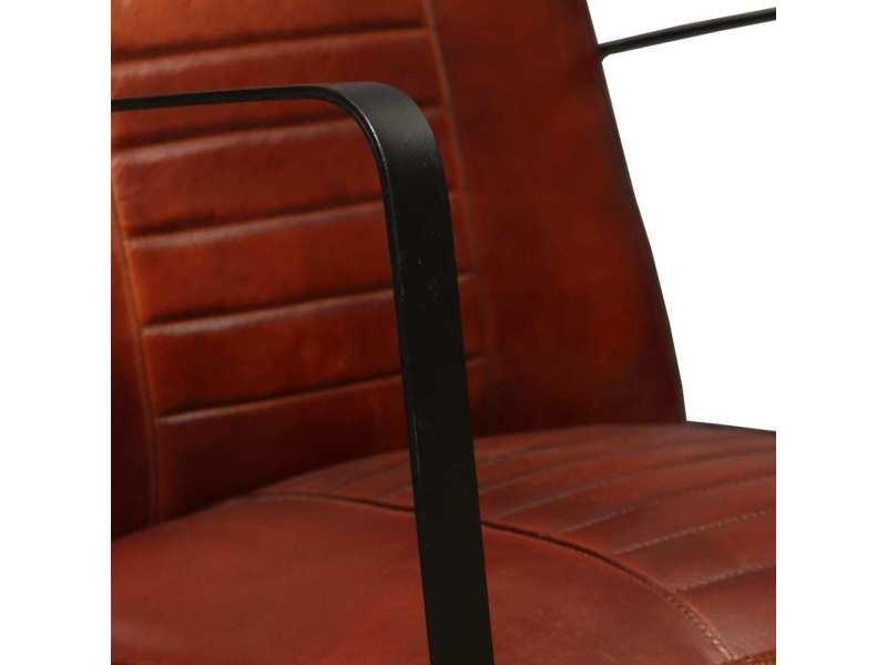 Vidaxl fauteuil de salon en cuir v ritable marron 244629 vente de vidaxl conforama - Salon conforama cuir ...