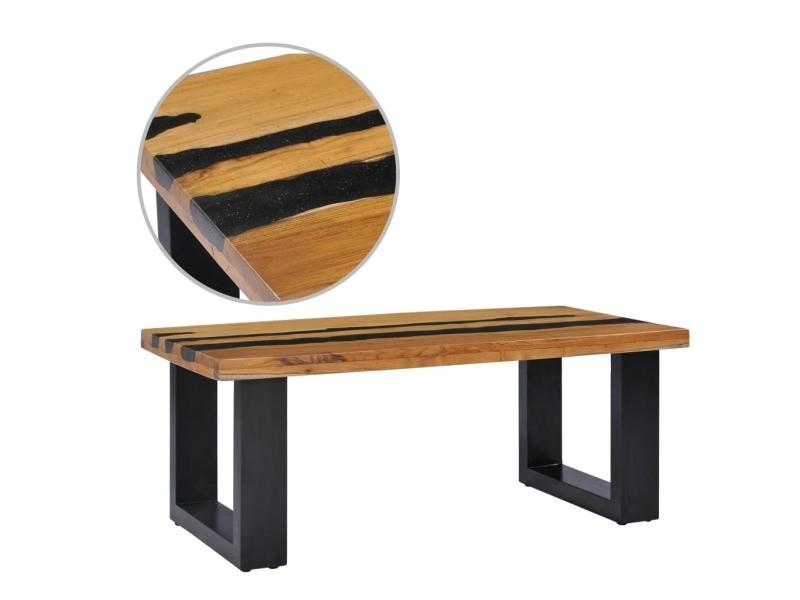 Stylé tables basses et tables d'appoint famille kinshasa table basse 100x50x40 cm bois de teck massif et pierre de lave