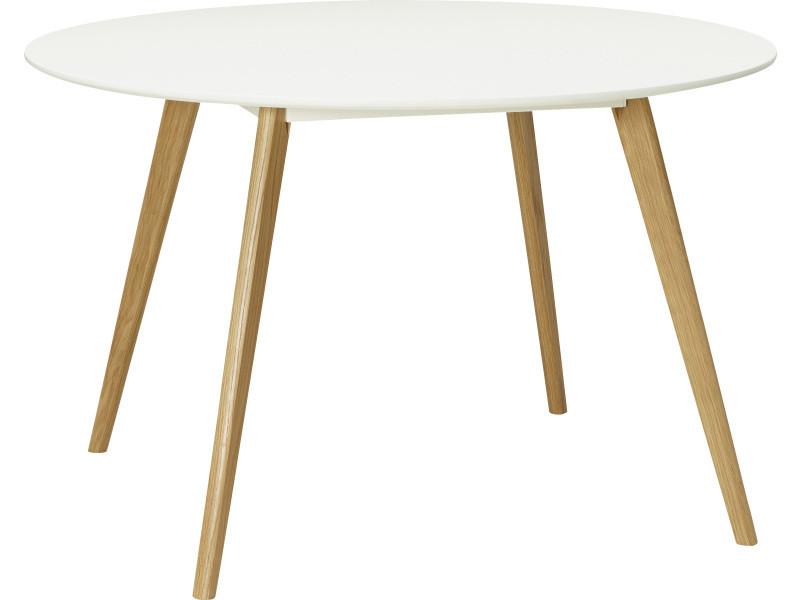 Table ronde scandinave coloris blanc - 120 x 120 x 75 cm -pegane-