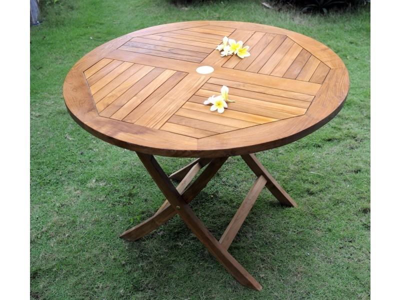 Table ronde pliante en teck huilé, 100 cm pliante - Vente de ...