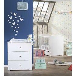 Chambre duo lit bébé blanc 120x60 et commode à langer 3 tiroirs basic babyprice