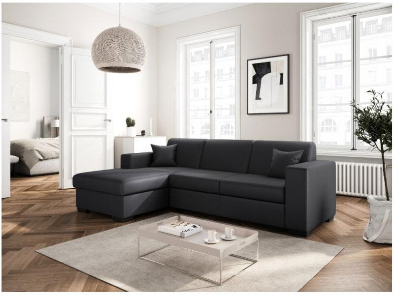 Canapé d'angle fuji xl convertible avec coffre simili cuir gris - angle - gauche CARIBIGRPUG