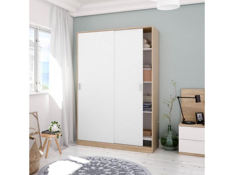 Armoire 2 portes coulissantes blanc/chêne - sana - l 120 x l 50 x h 200 cm