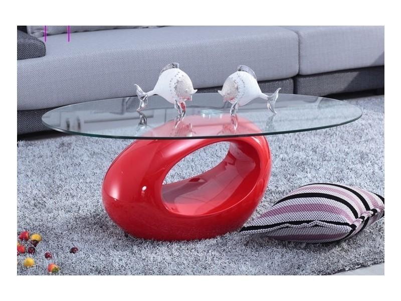 Table basse design rouge en verre maxus-