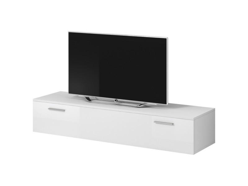 """E-com - Meuble TV """"Boston"""" - 150 cm - blanc TVU107150WWHG"""