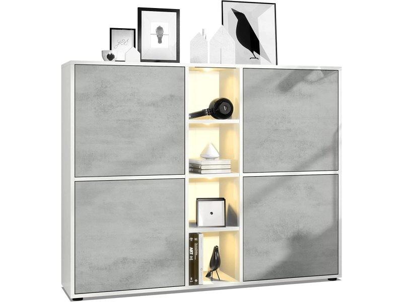 Buffet blanc / chocolat haute brillance 200 cm