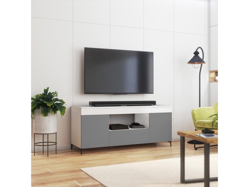 Meuble tv - gusto - 137 cm - blanc mat / gris mat - style contemporain
