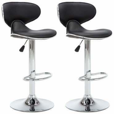 Lot de deux tabourets de bar design chaise siège similicuir