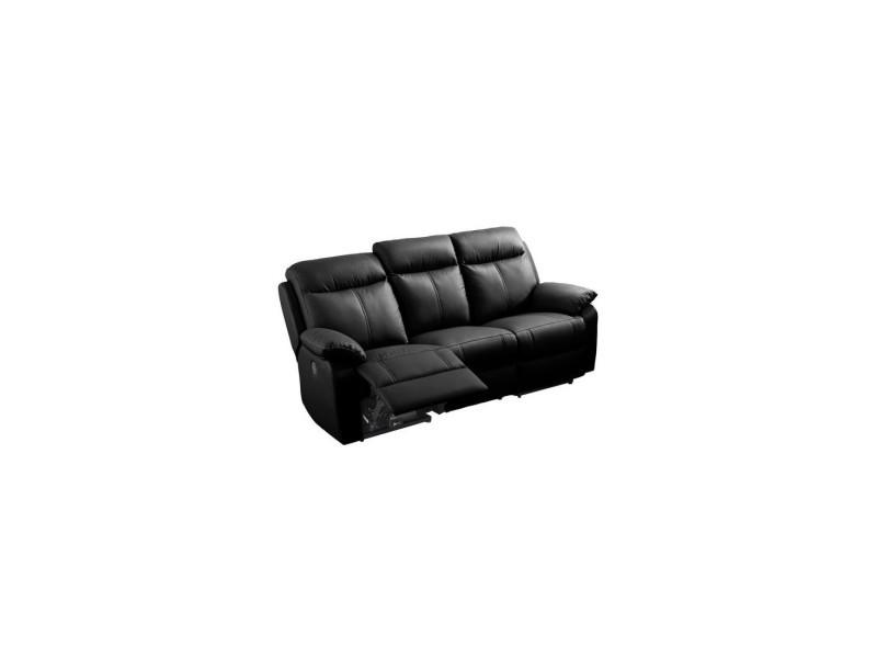 Canapé relax électrique 3 places cuir noir - vyctoire - l 201 x l 95 x h 101 - neuf