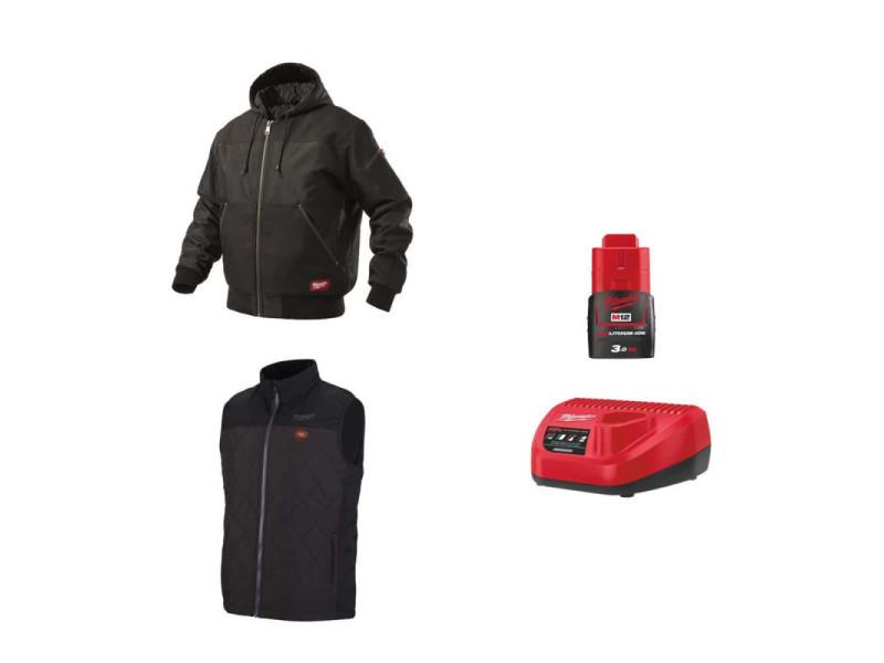 Pack milwaukee taille s - blouson noir à capuche wgjhbl - veste chauffante sans manche hbwp - chargeur de batterie 12v m12 c12 c - batterie m12 3.0 ah PackVestesChauffantesTailleS