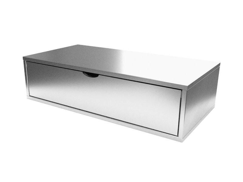 Cube de rangement bois 100x50 cm + tiroir gris aluminium CUBE100T-GA