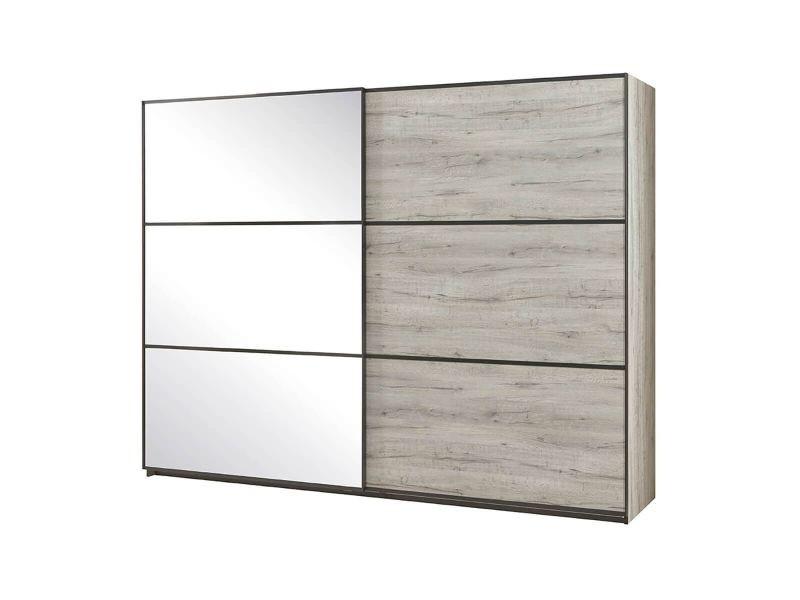 Letto - armoire 2 portes coulissantes 2m aspect bois blanchi