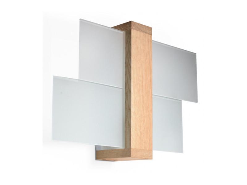 Applique murale feniks bois/verre bois naturel 1 ampoule