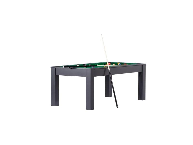 Billard manhattan convertible en table à manger - couleur noire avec tapis vert DF0087