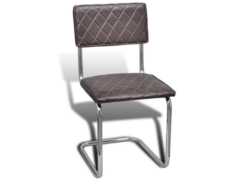 Lot de 2 chaises de salle à manger en fer brun helloshop26 1902051