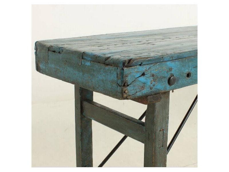 Vintage - console ancienne en bois bleu