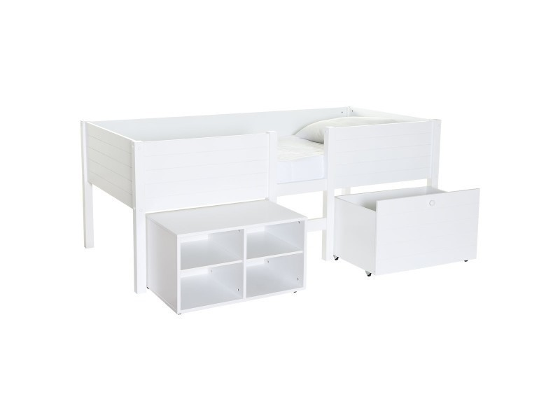 lit sur lev enfant blanc avec rangement lit sureleve. Black Bedroom Furniture Sets. Home Design Ideas