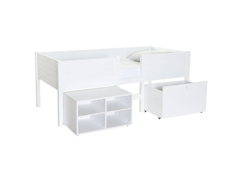 lit sur lev enfant blanc avec rangement lit sureleve school caisson blanc conforama. Black Bedroom Furniture Sets. Home Design Ideas