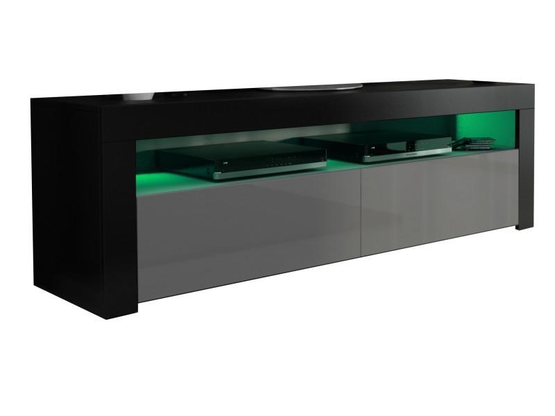 Meuble tv noir mat et gris brillant 157 cm + led rgb