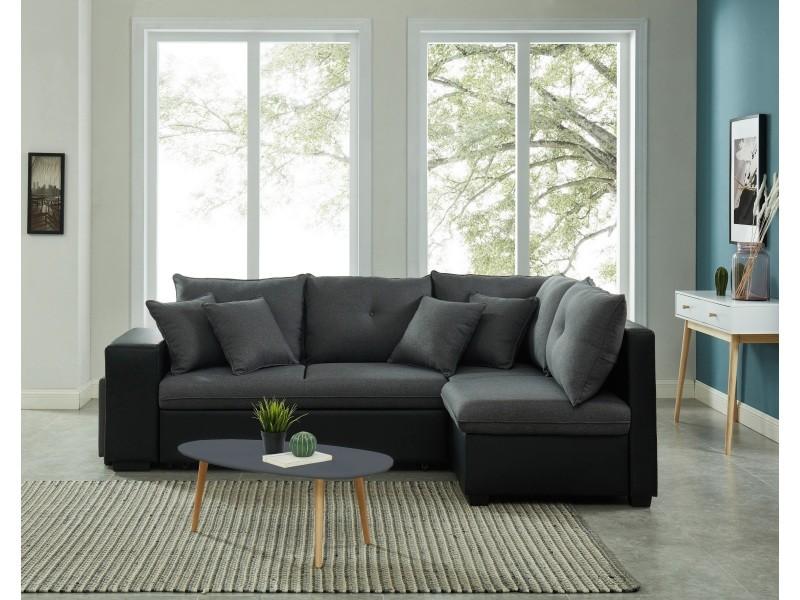 Canapé d'angle droit convertible koselig 4 places tissu gris et pu noir + table anthracite CNBKDGPTX01_541