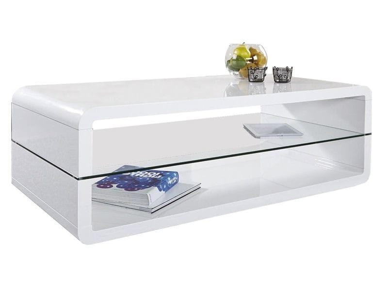 table basse blanche laqu e 120cm avec plateau en verre. Black Bedroom Furniture Sets. Home Design Ideas